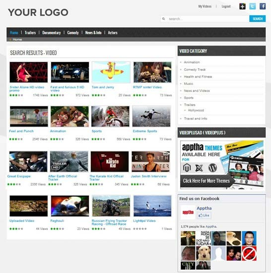 Joomla Video Plus - Video Plus Theme | Video Gallery Template